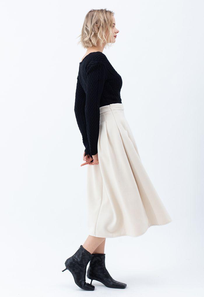Pleated Wool-Blend Midi Skirt in Cream