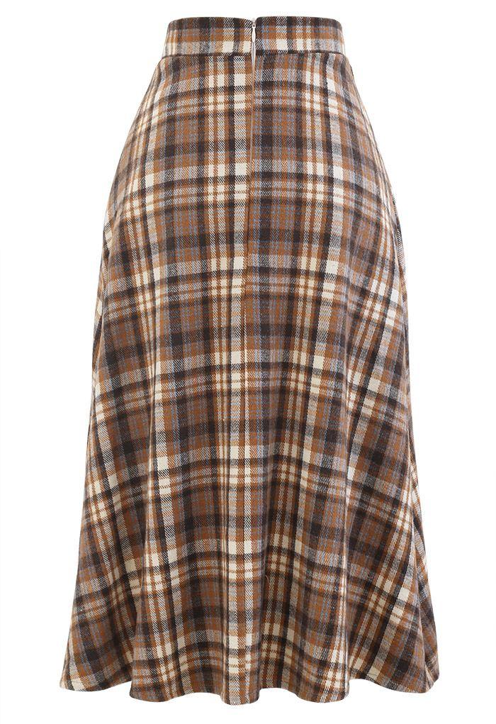 Plaid Wool-Blend A-Line Midi Skirt in Caramel