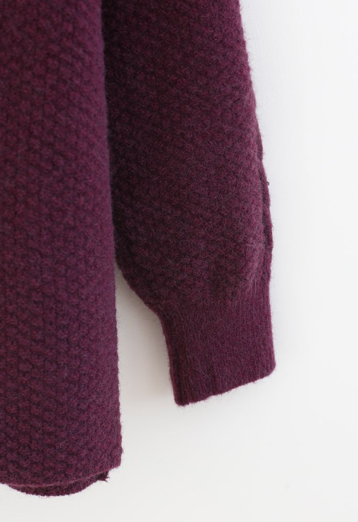 Textured Cable Knit Sweater in Plum