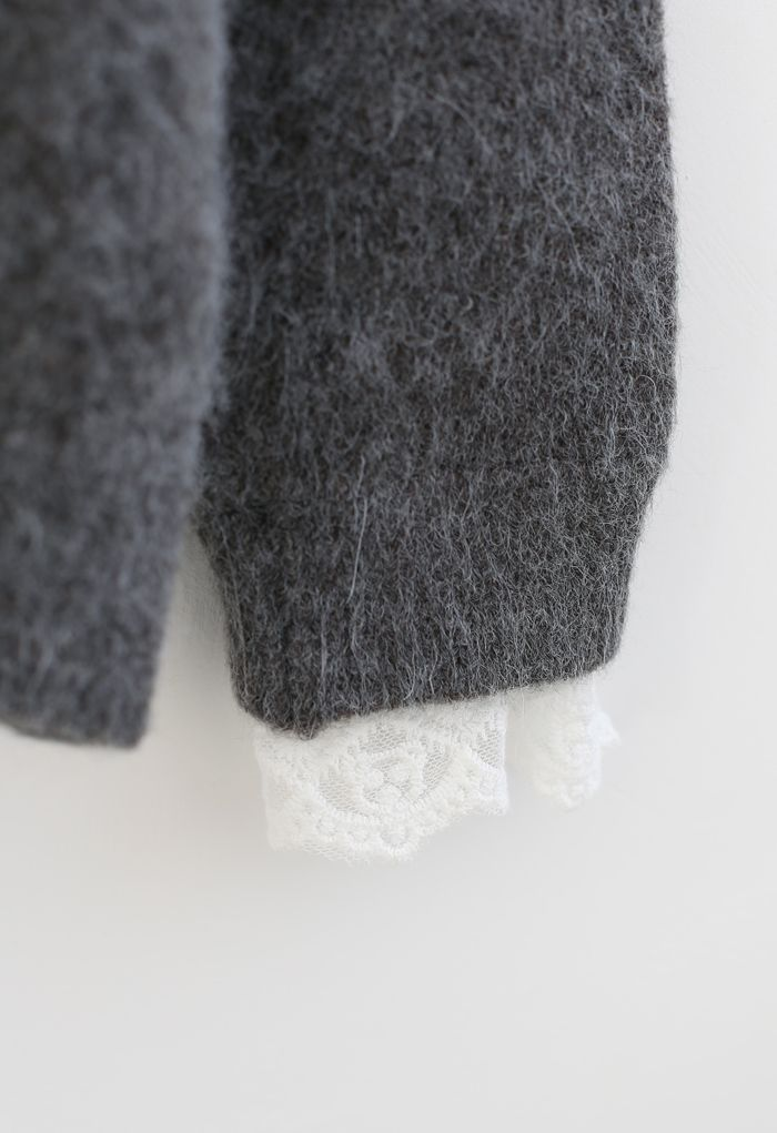 Lacy Details Fuzzy Knit Sweater in Grey