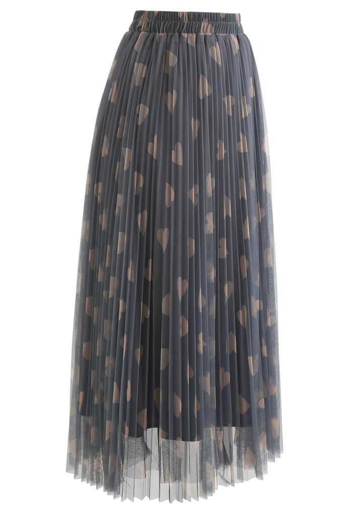 Heart Print Double-Layered Mesh Tulle Skirt in Grey