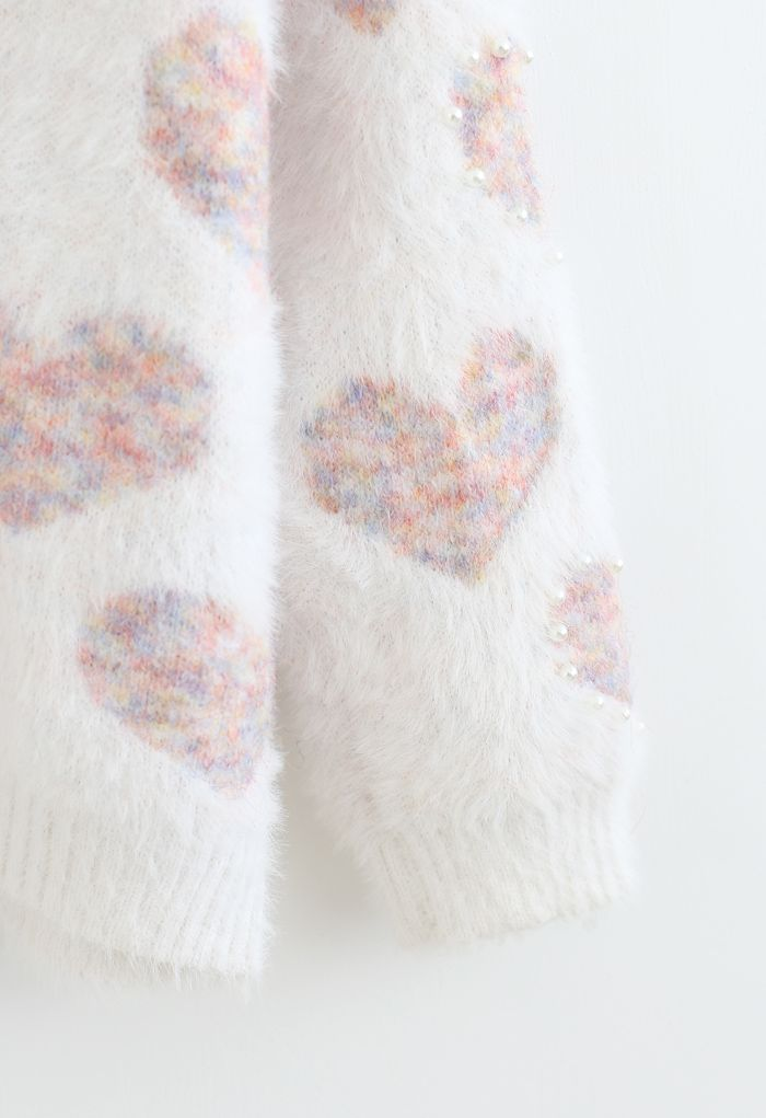 Fuzzy Pink Heart Pearl Trim Knit Sweater