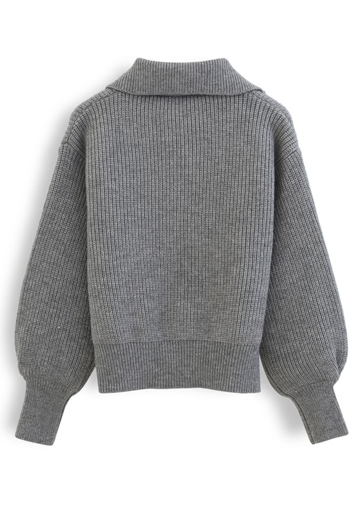 High Zipper Collar Knit Sweater in Grey