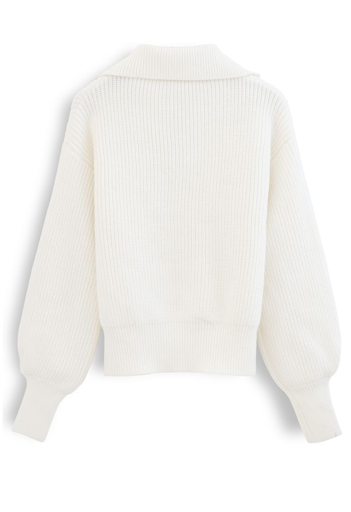 High Zipper Collar Knit Sweater in White