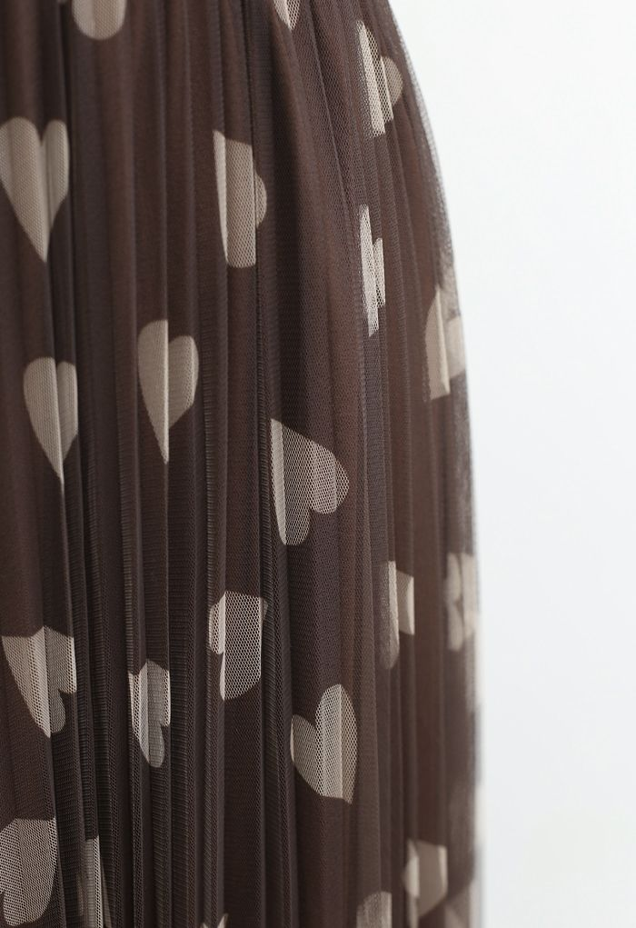Heart Print Double-Layered Mesh Tulle Skirt in Brown
