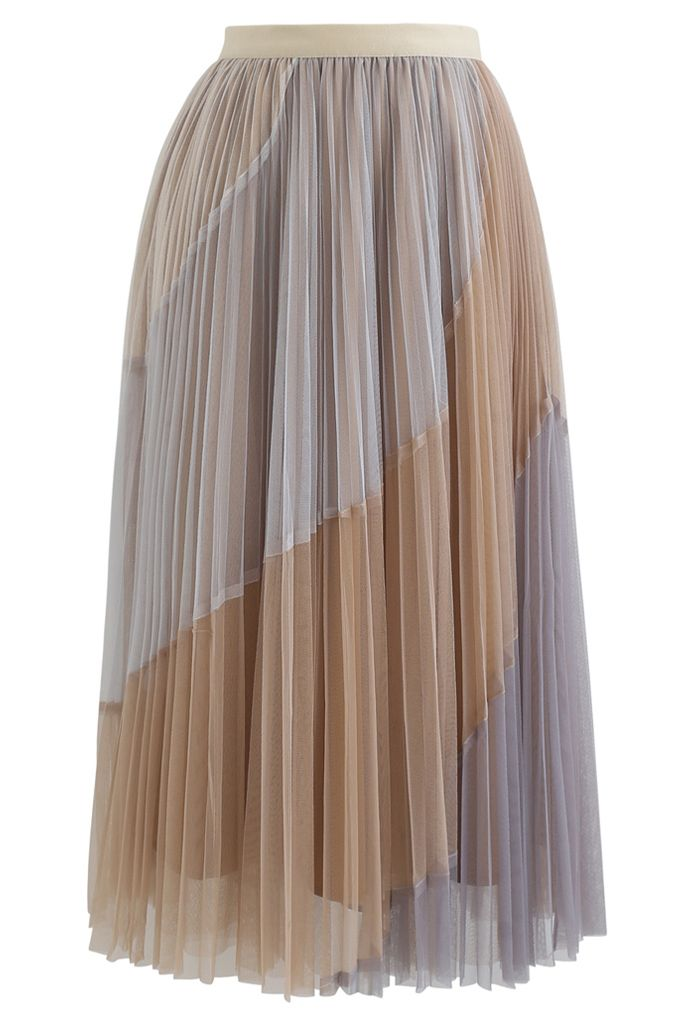 Multi Color Double-Layered Pleated Tulle Midi Skirt in Light Tan