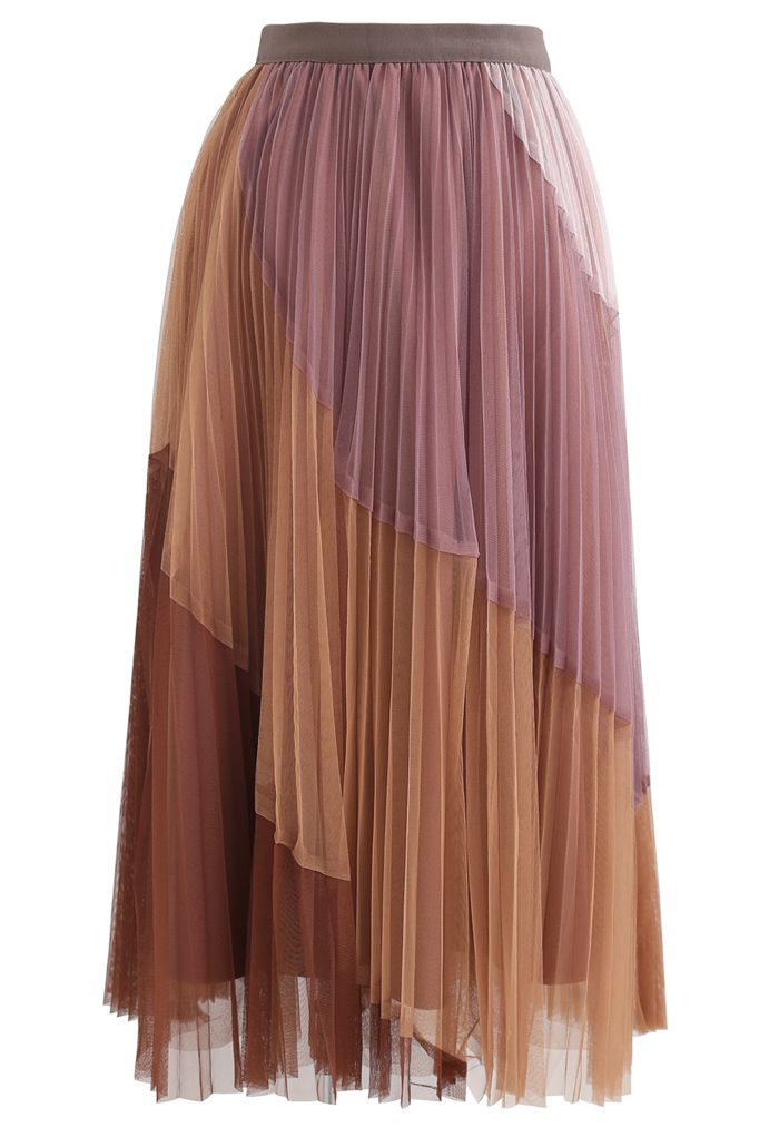 Multi Color Double-Layered Pleated Tulle Midi Skirt in Berry