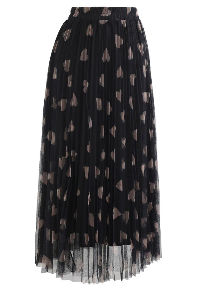 Heart Print Double-Layered Mesh Tulle Skirt in Black