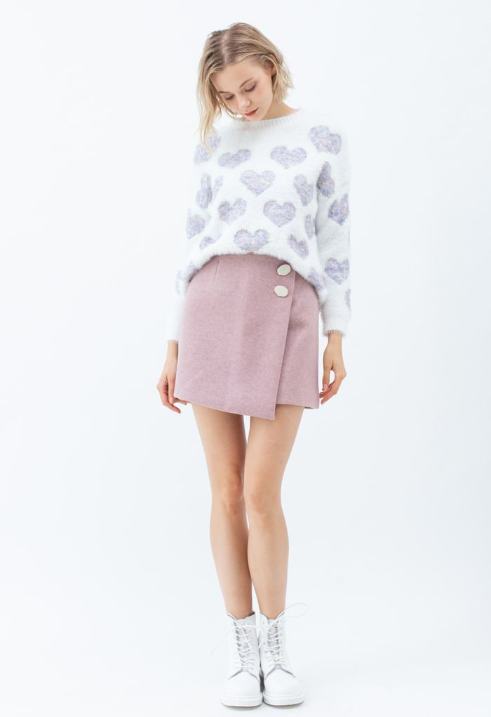 Marble Button Flap Mini Skirt in Pink