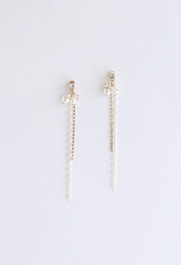 Crystal Chain Pearl Earrings