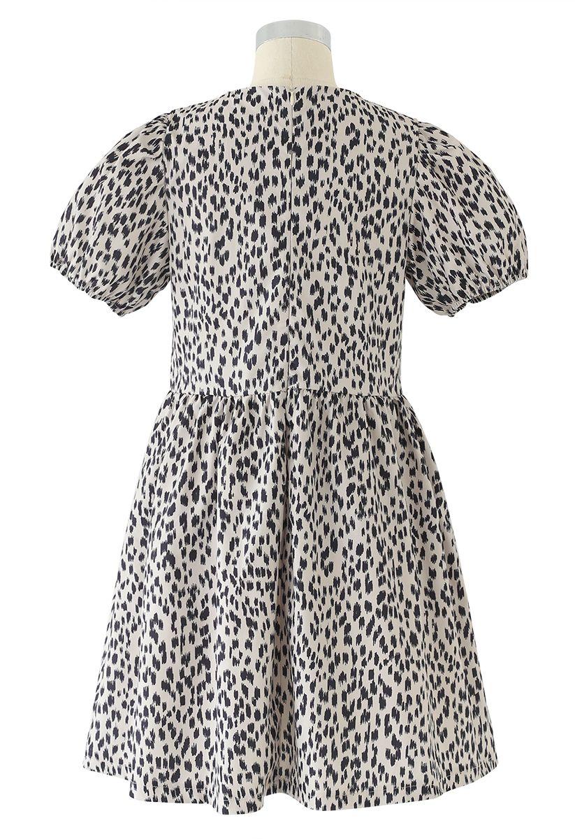 Short-Sleeved Leopard Print Dolly Dress
