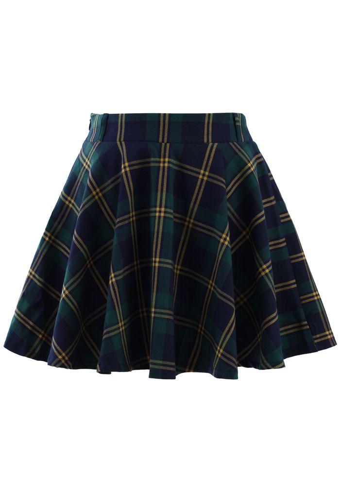 Green Plaid Check Skater Skirt