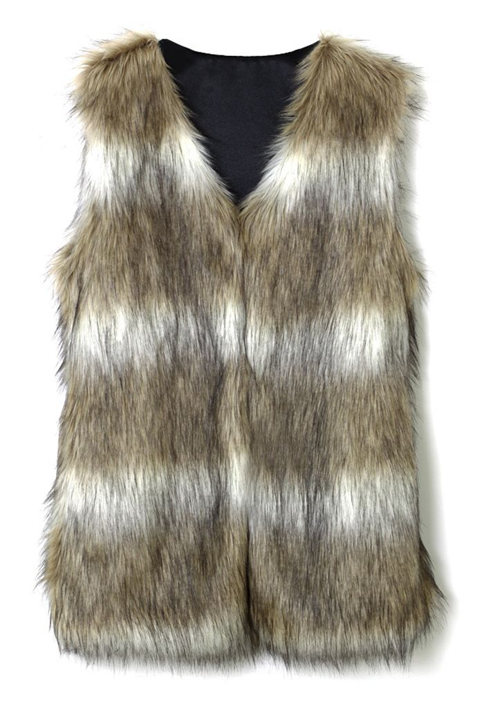 Faux Fur Vest in Striped Camel