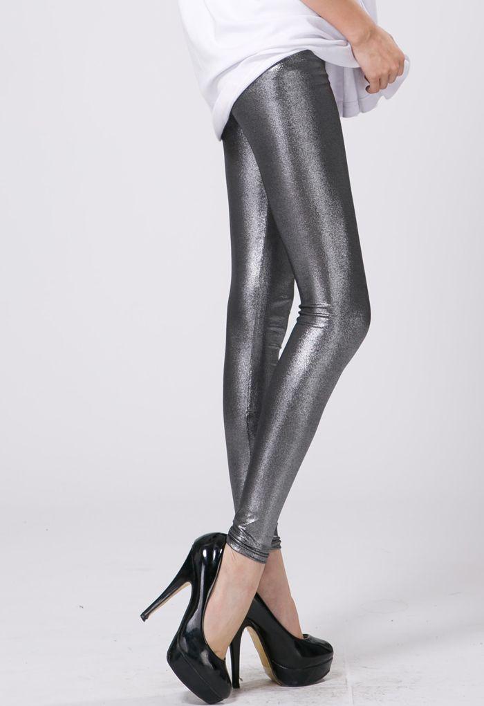 Silver Metallic Legging