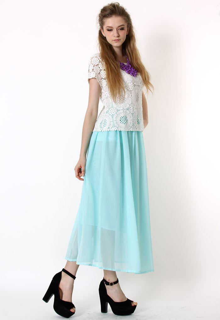 Mint Blue Pleated Maxi Skirt