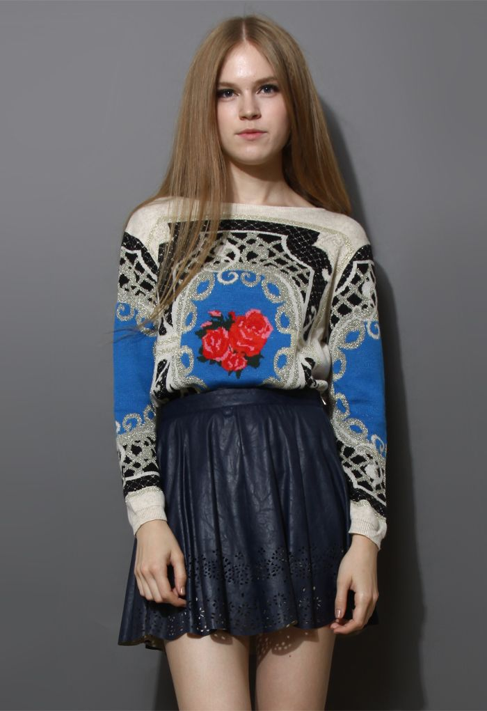 Retro Flower Baroque Pattern Sweater in Ivory