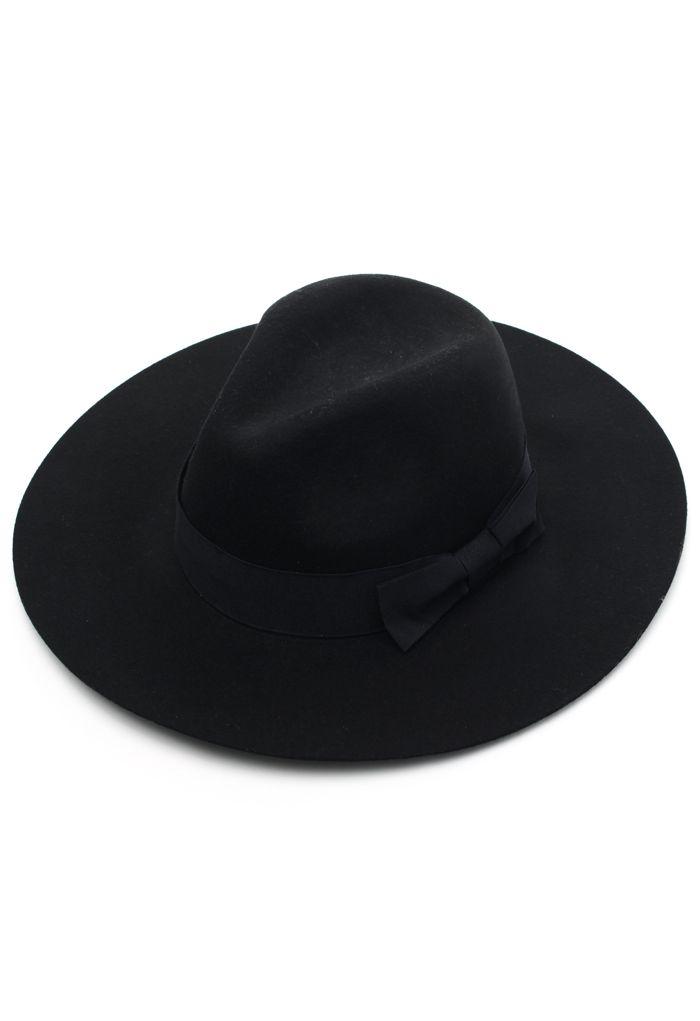 Chicwish Black Bow Floppy Hat