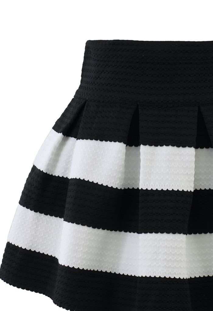 Contrast Strips A-line Skirt