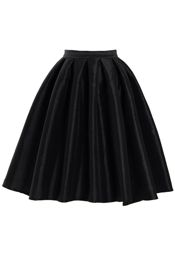 Black A-line Midi Skirt