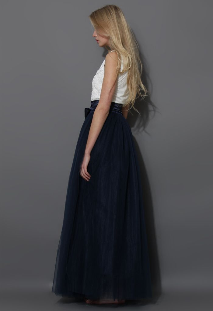 Amore Maxi Tulle Prom Skirt in Navy