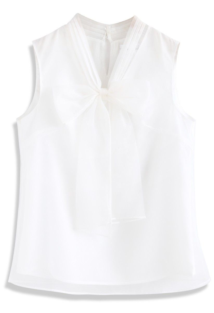 Bowknot Sleeveless Organza Top in White