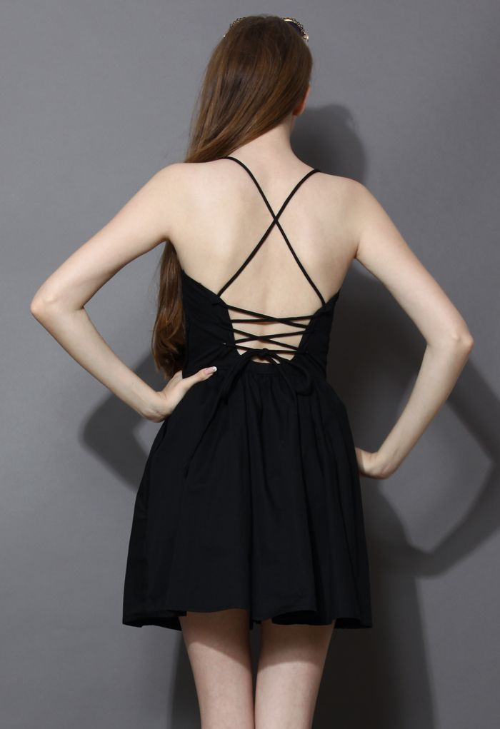 Revitalized Black Adjustable Tie Back Dress