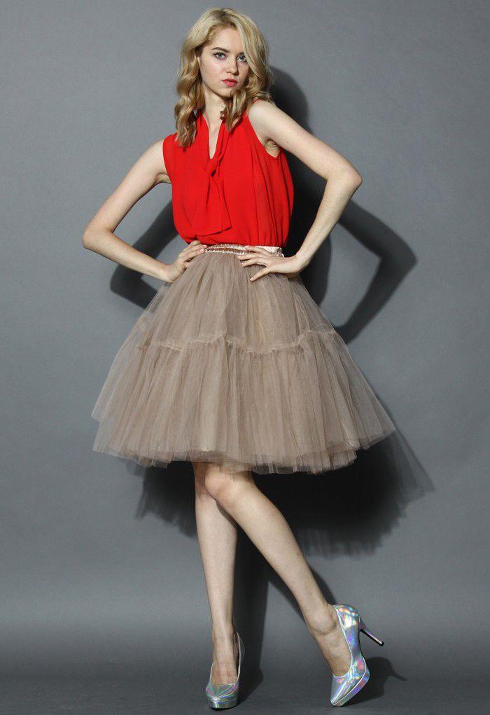 Amore Tulle Midi Skirt in Caramel