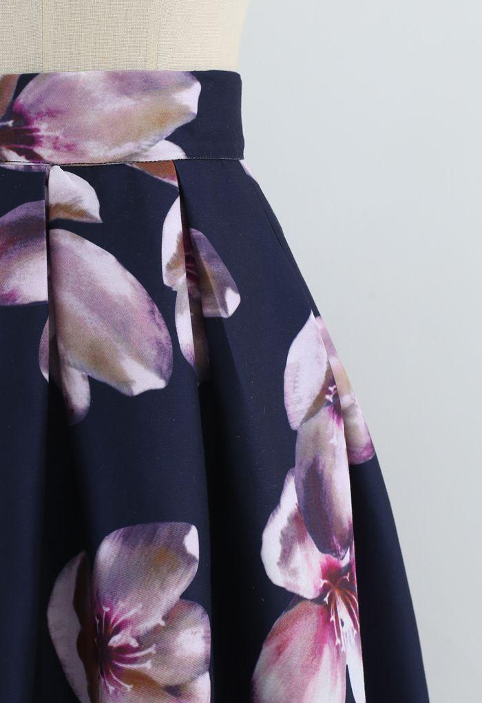 Peach Blossom Midi Skirt in Navy