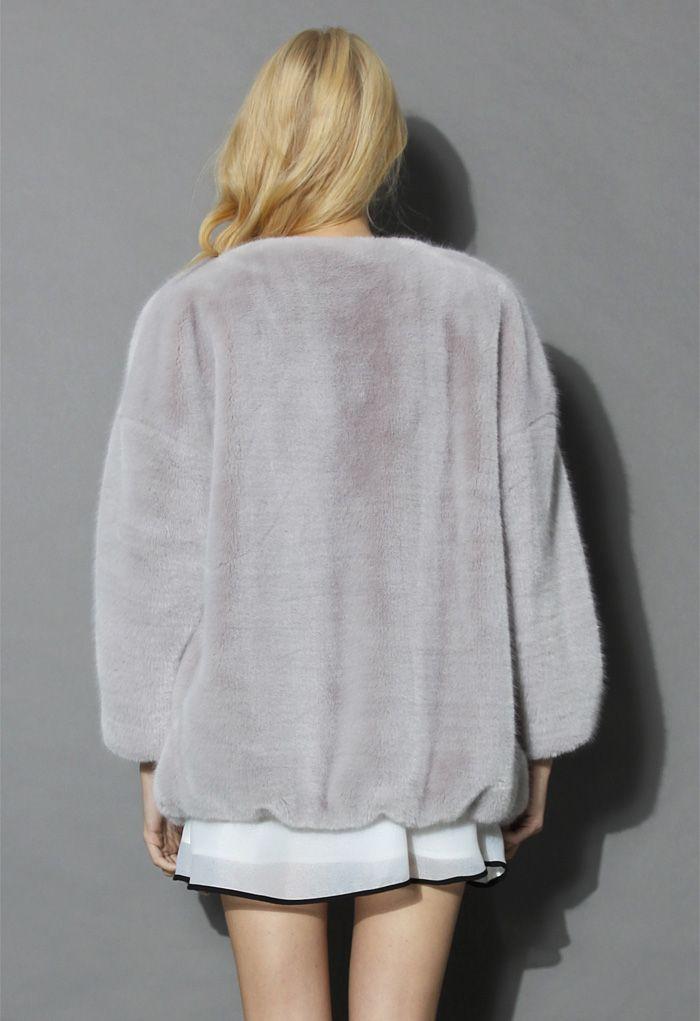 Ultra Comfy Faux Fur Coat in Grey