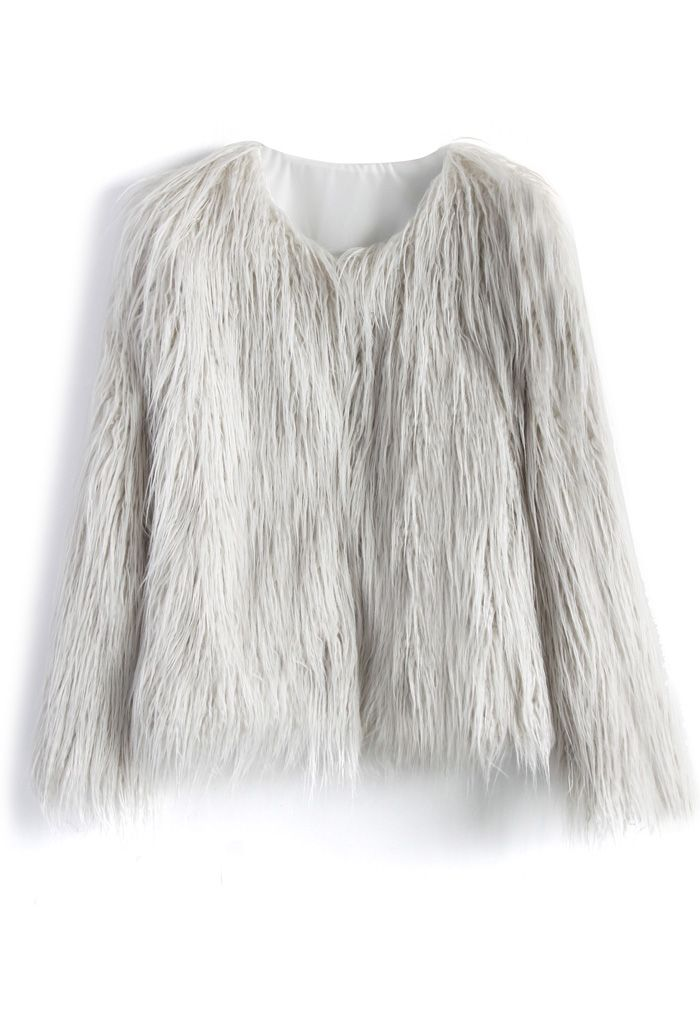 My Chic Faux Fur Coat in Silver