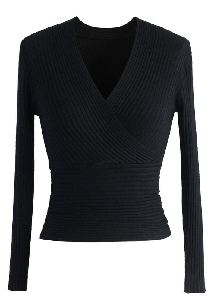 Glam V-neck Ribbed Top in Black