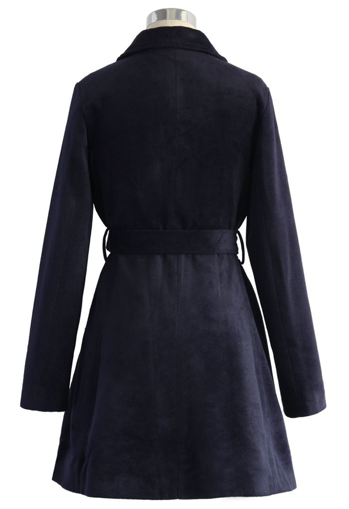 Urban Chic Belted Woolen Coat in Navy