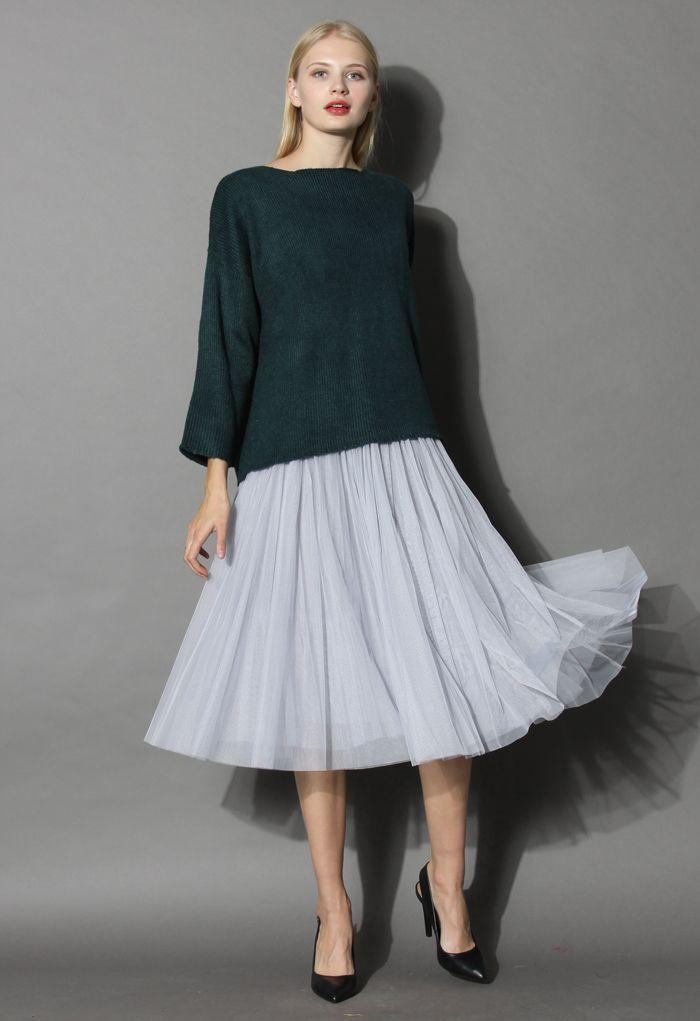 Ethereal Tulle Mesh Midi Skirt in Grey