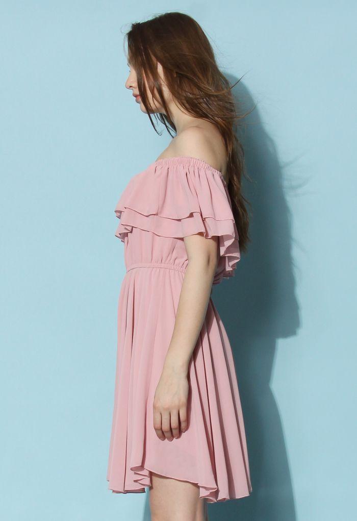 Endless Off-shoulder Frilling Dress in Pastel Pink