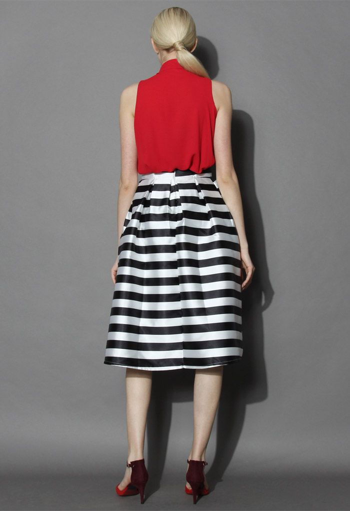 Stripes Full A-line Midi Skirt