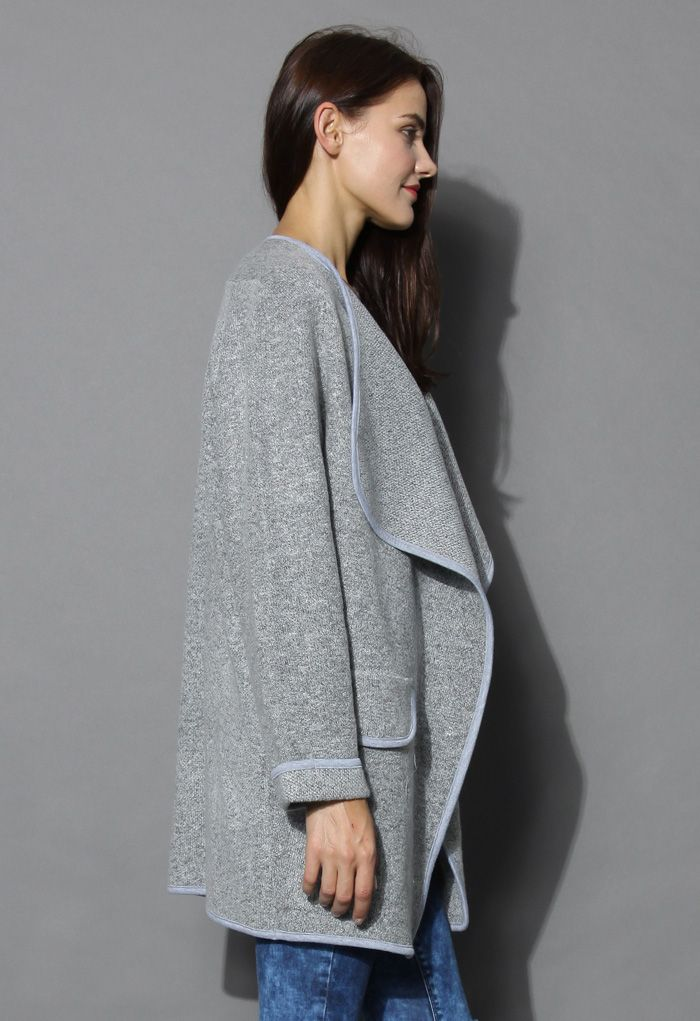 Just Knitted Open Coat in Grey