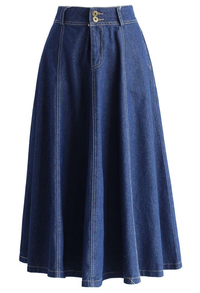 Swing Denim A-line Midi Skirt