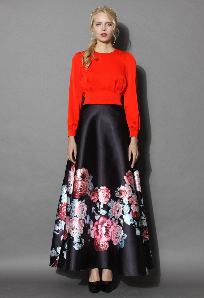 Endless Blooming Rose Maxi Skirt