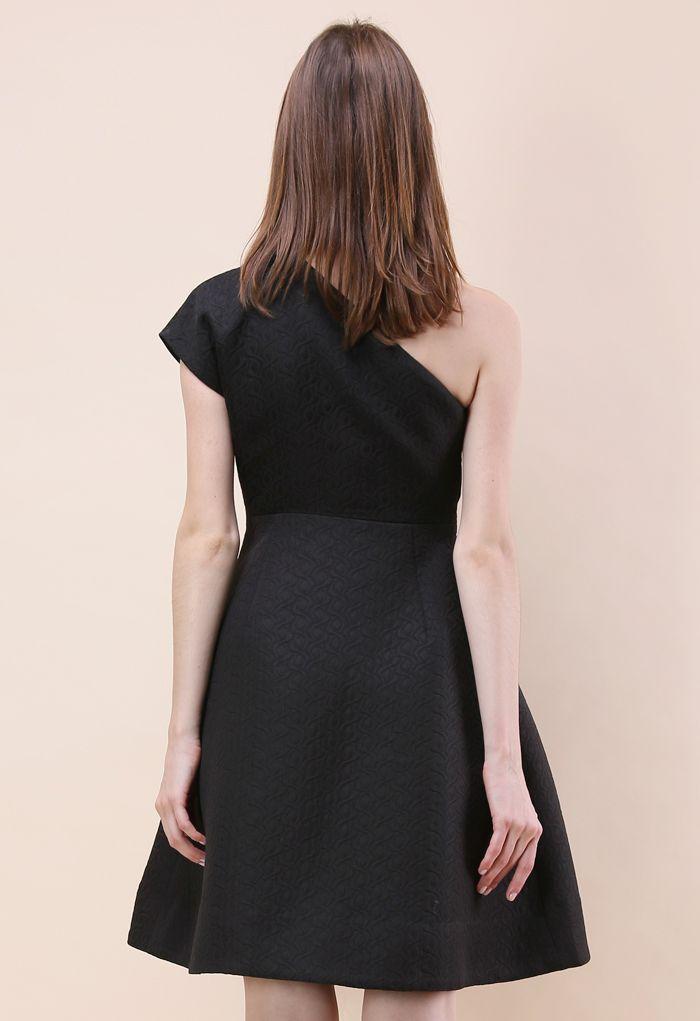 Dance All Night Embossed Asymmetric Dress in Black