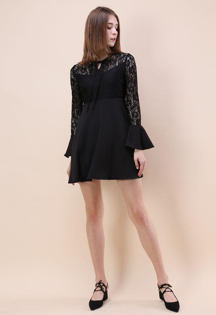Romantic Twirl Lace Dress in Black