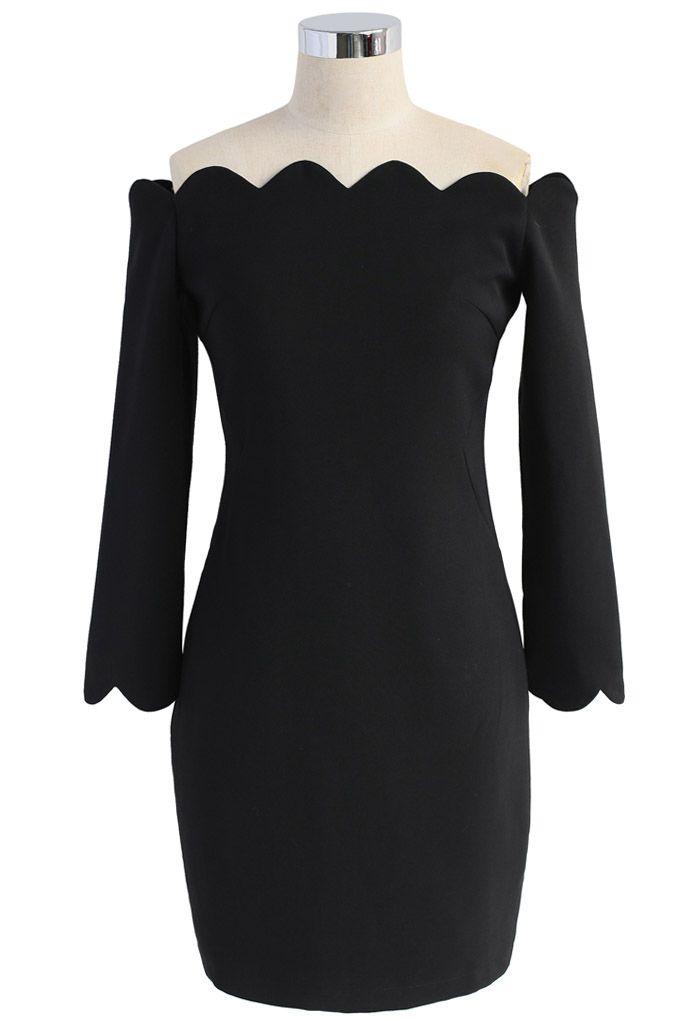 The Era of Your Charm Off-shoulder Shift Dress in Black