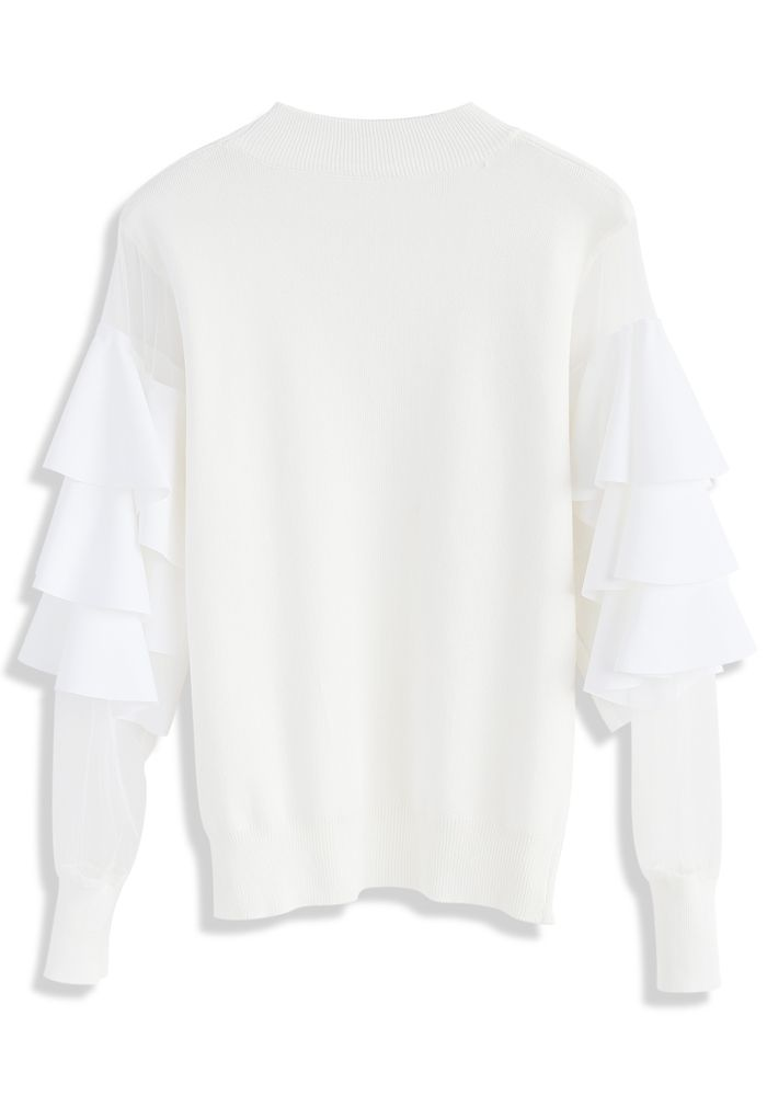 Pure Pleasure Smock Top with Tiered Flare Sleeves in Ivory