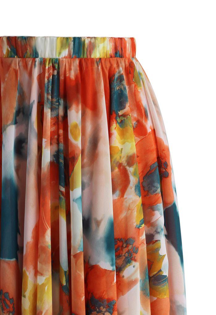 Orange Blossom Watercolor Maxi Skirt