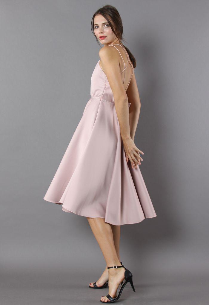Luxurious Cross-strap Open Back Dress in Pink