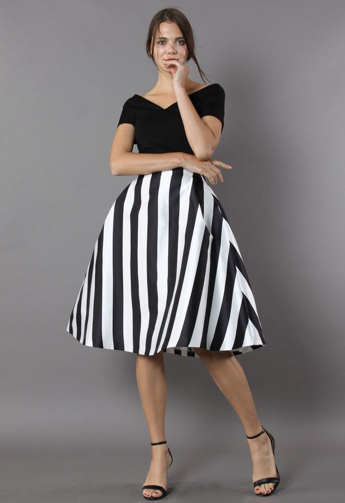 Chic in Stripes A-line Midi Skirt
