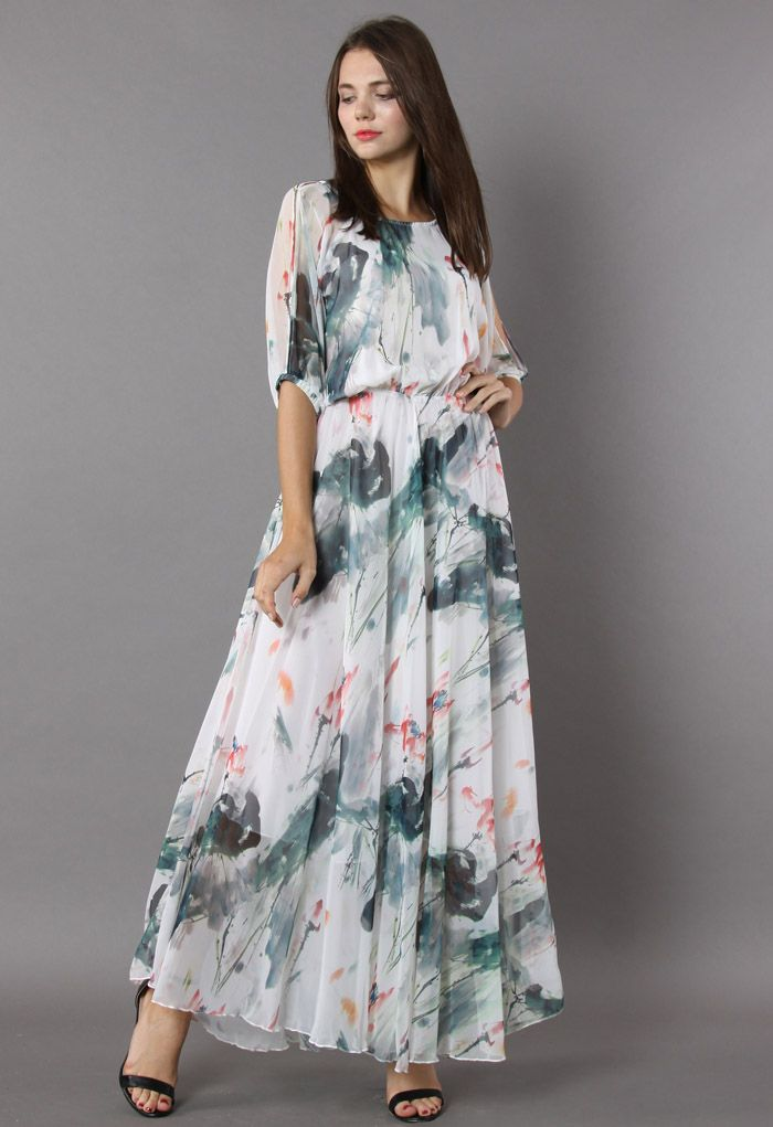 Paint in Grace Watercolor Maxi Dress