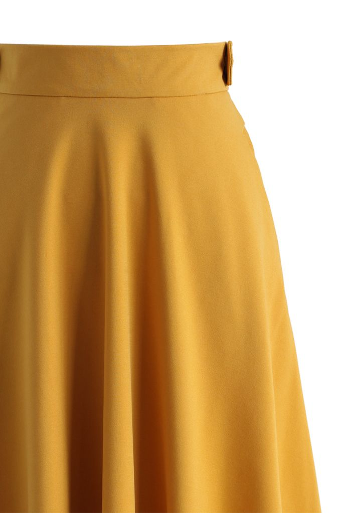 Basic Full A-line Skirt in Mustard