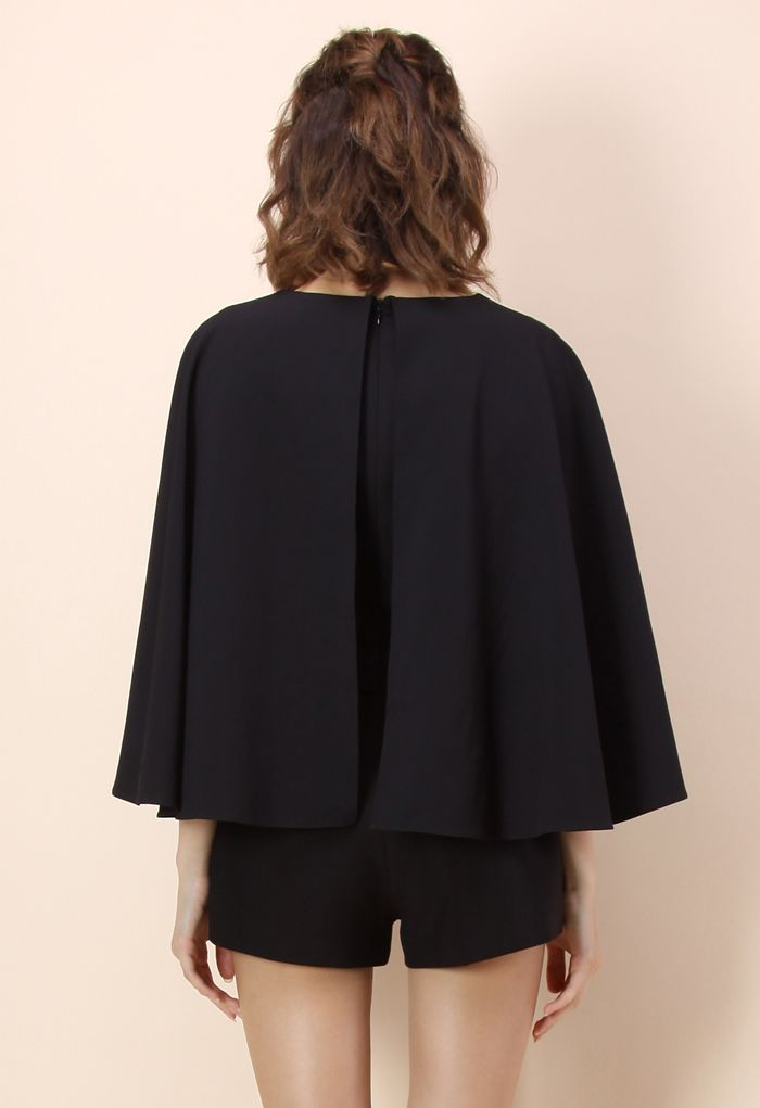 Show Your Charm Black Playsuit with Cape Sleeves