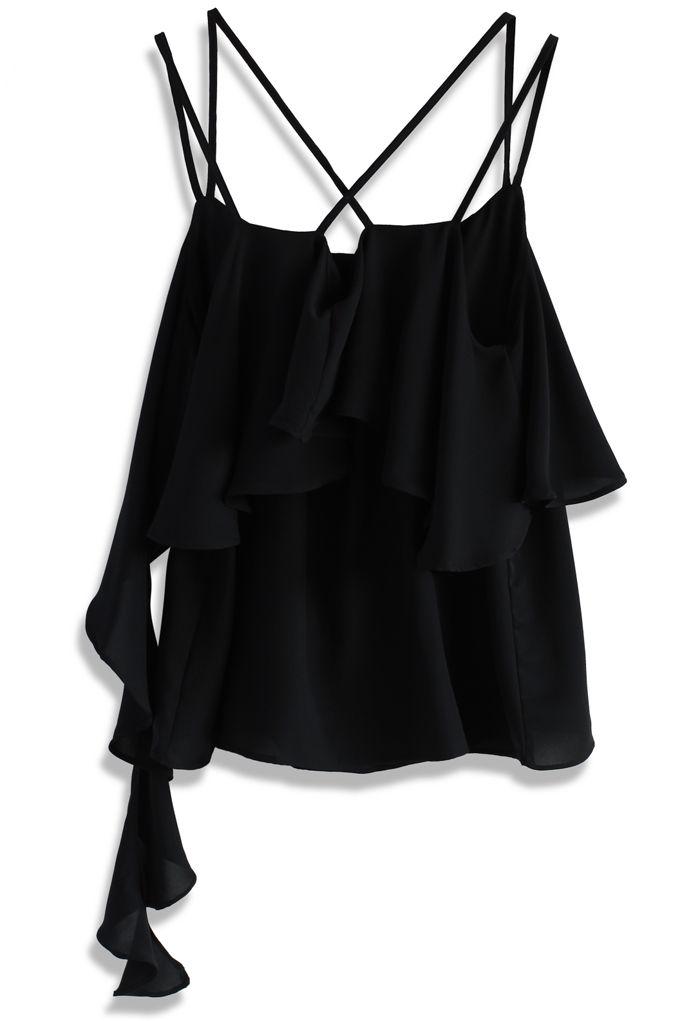 Layers of Falls Cami Top in Black