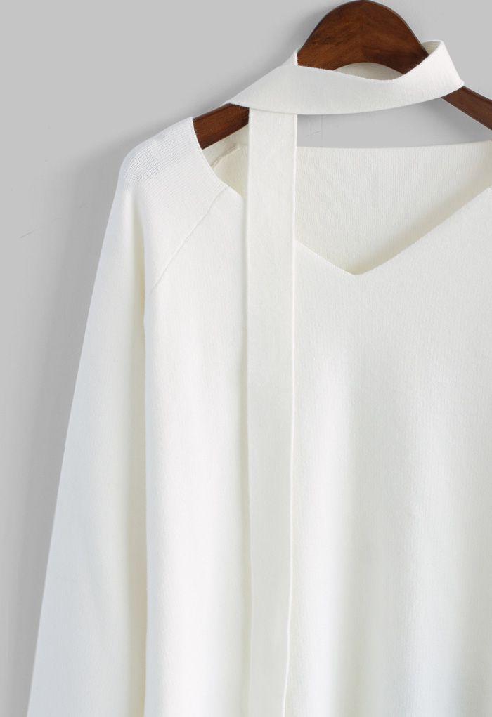 Soft Bell Sleeves V-neck Sweater in White